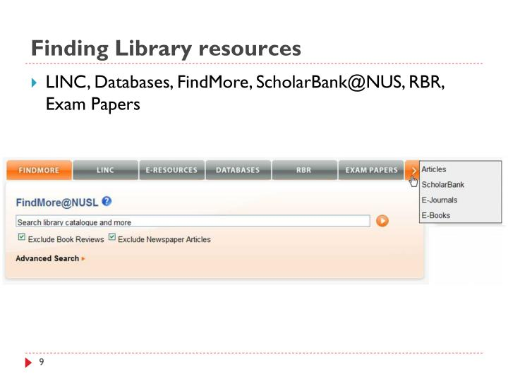 Finding Library resources