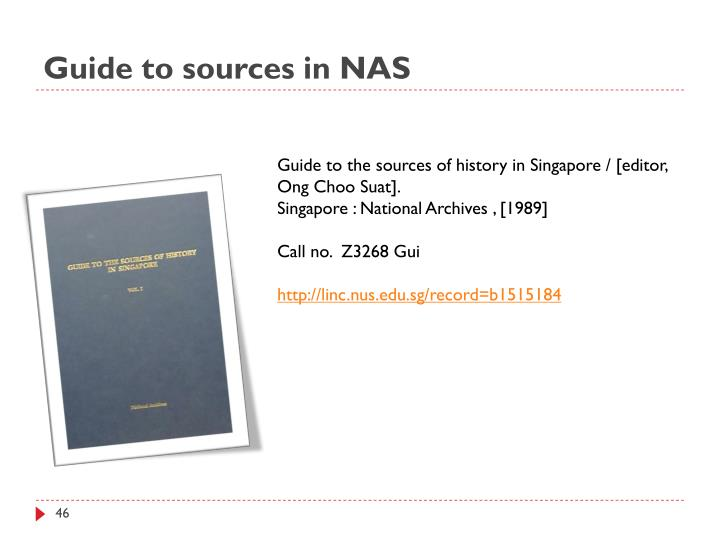 Guide to sources in NAS