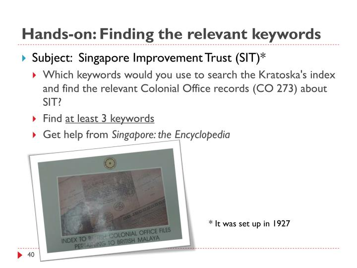 Hands-on: Finding the relevant keywords