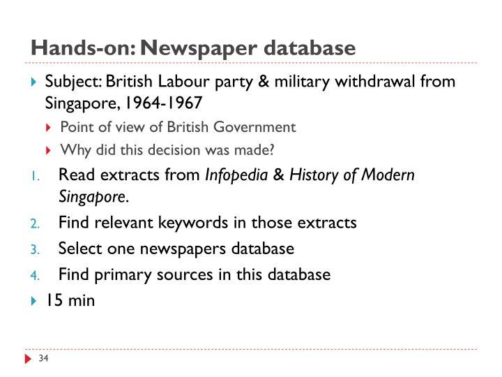Hands-on: Newspaper database