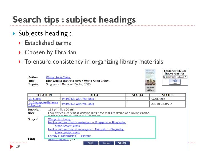 Search tips : subject headings