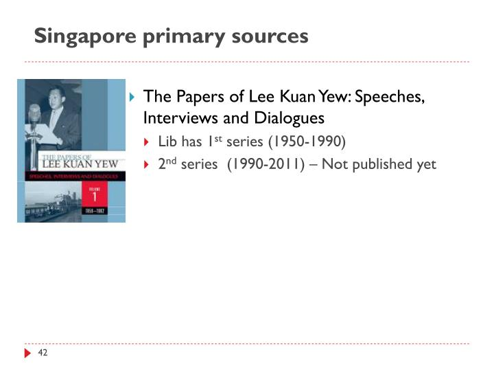 Singapore primary sources