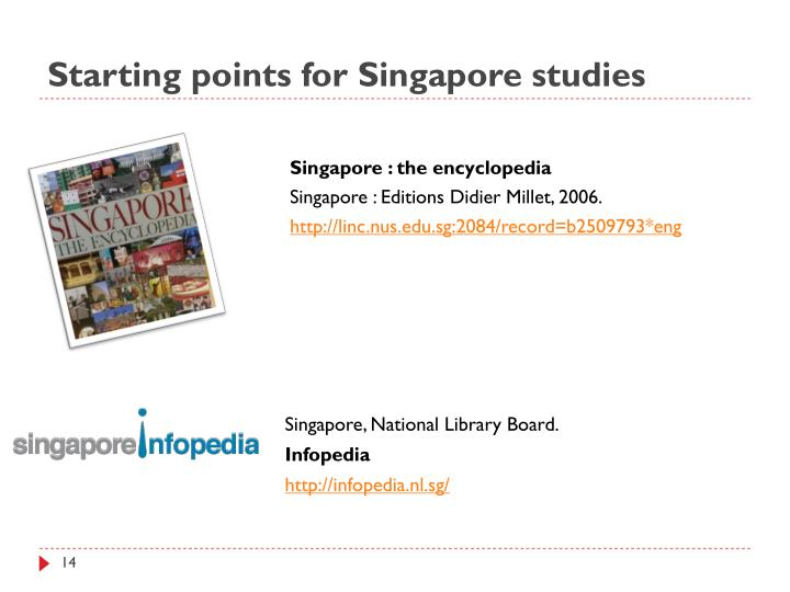 Starting points for Singapore studies