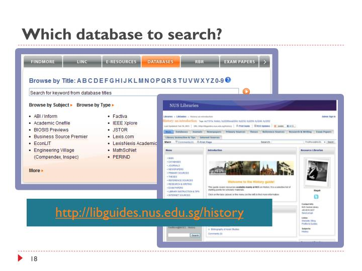 Which database to search?
