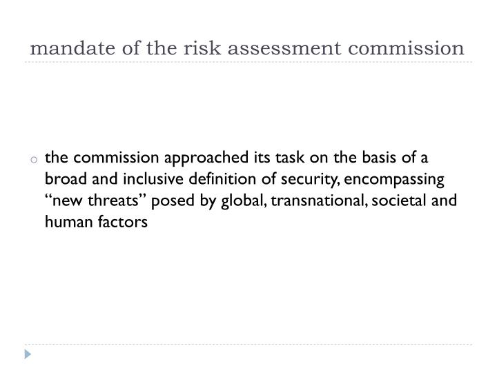 mandate of the risk assessment commission
