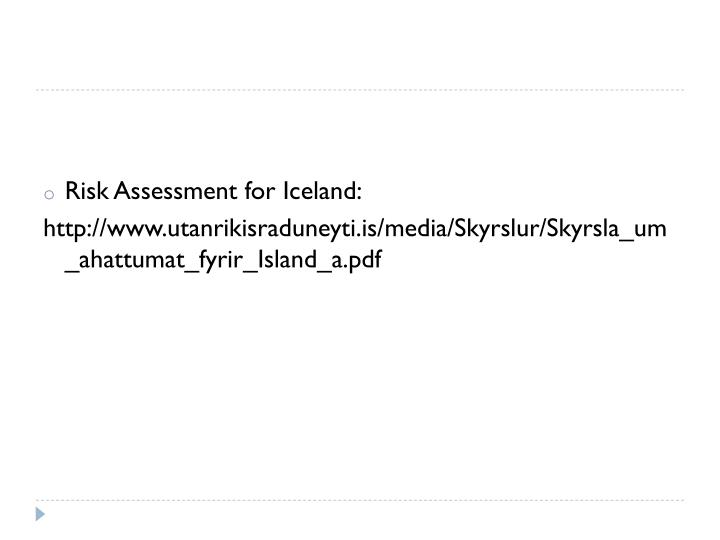 Risk Assessment for Iceland: