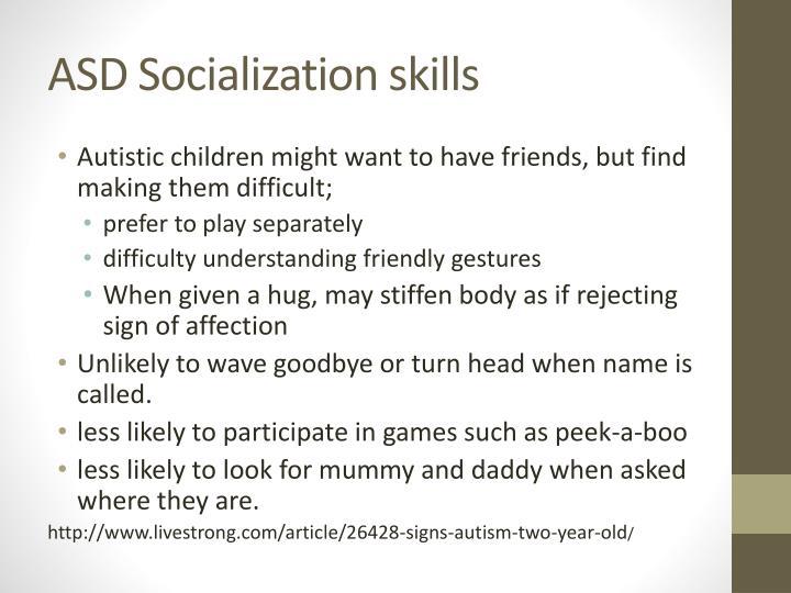 ASD Socialization skills