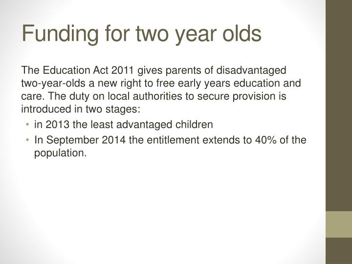 Funding for two year olds