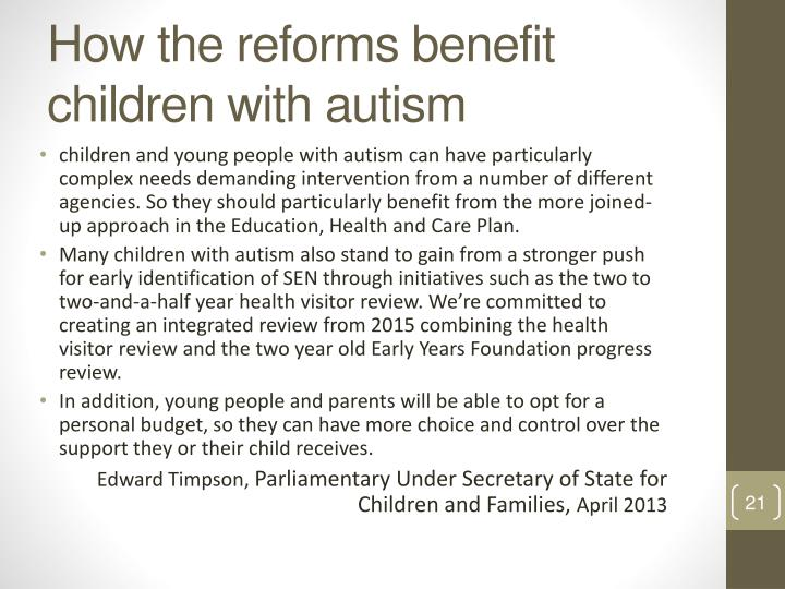 How the reforms benefit children with