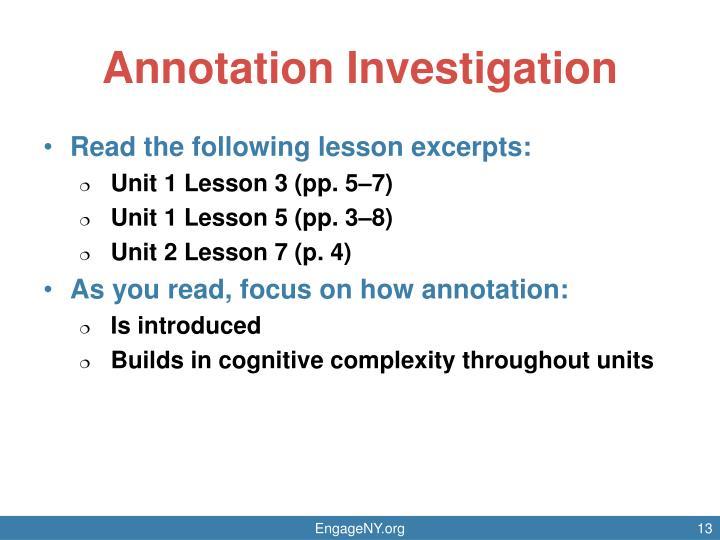 Annotation Investigation