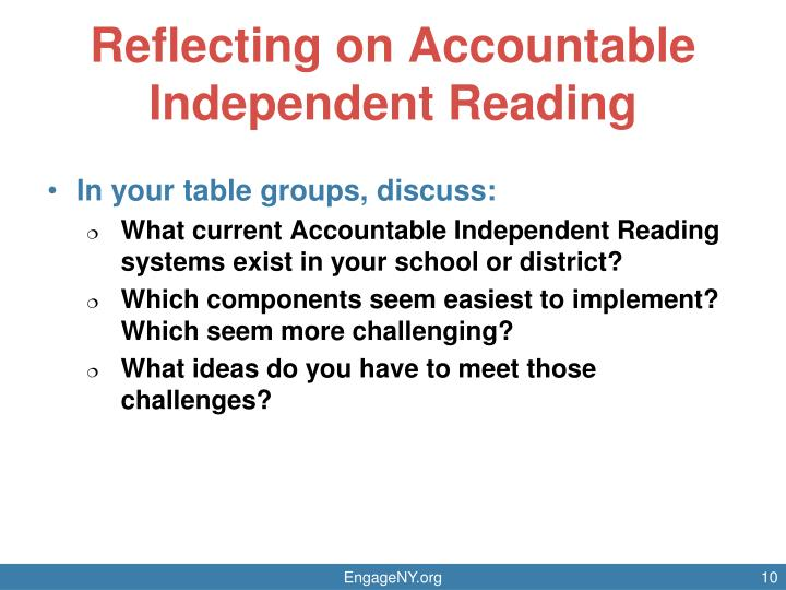 Reflecting on Accountable Independent Reading