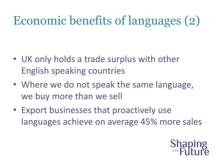 Economic benefits of languages (2)