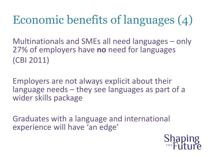 Economic benefits of languages (4)