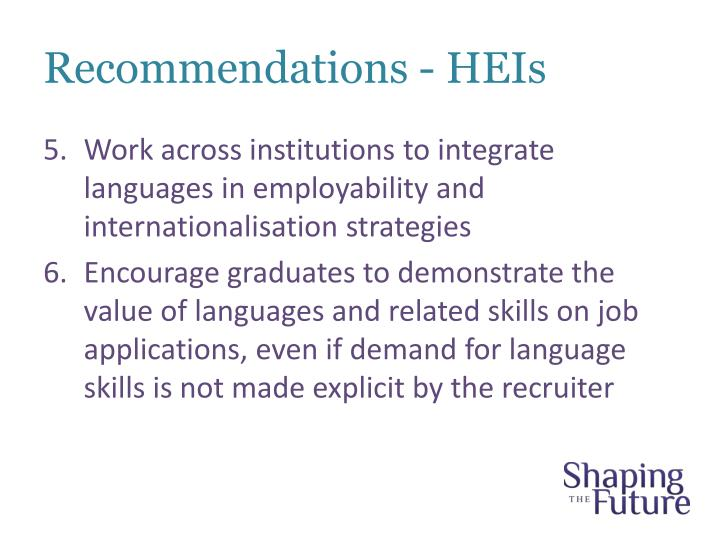 Recommendations - HEIs