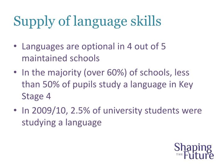 Supply of language skills