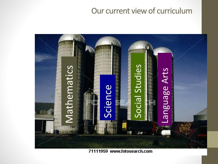 Our current view of curriculum