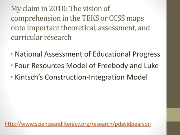 My claim in 2010: The vision of comprehension in the