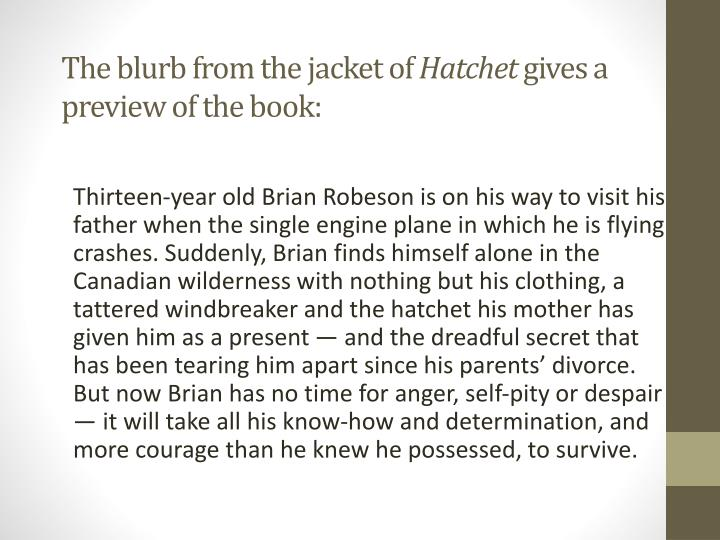 The blurb from the jacket of