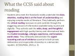 what the ccss said about reading