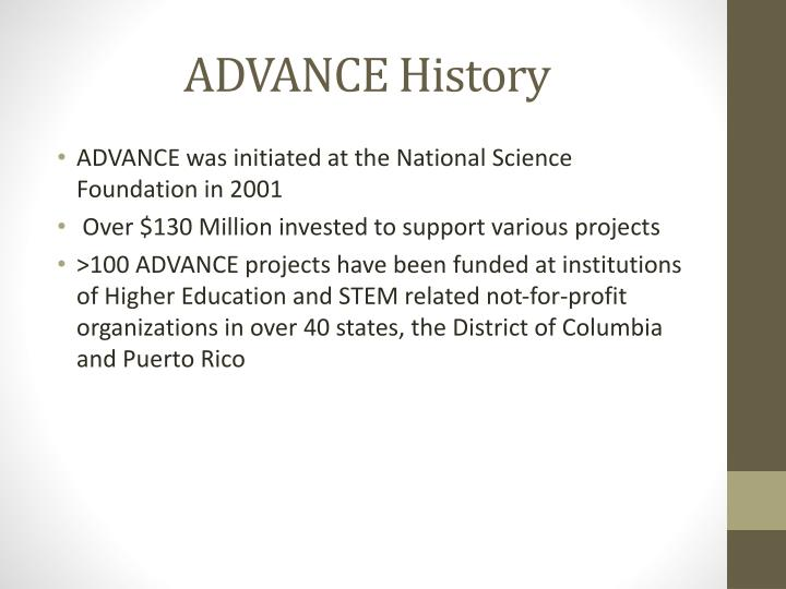 ADVANCE History