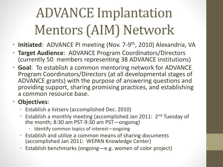 ADVANCE Implantation Mentors (AIM) Network