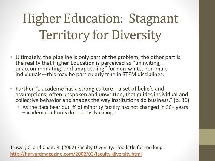 Higher Education:  Stagnant Territory for Diversity