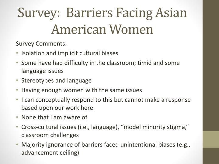 Survey:  Barriers Facing Asian American Women