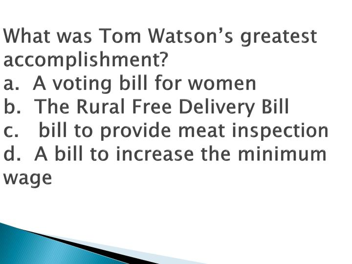 What was Tom Watson's greatest accomplishment?