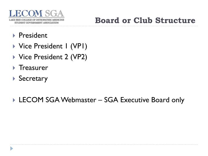 Board or Club Structure