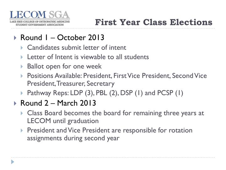 First Year Class Elections