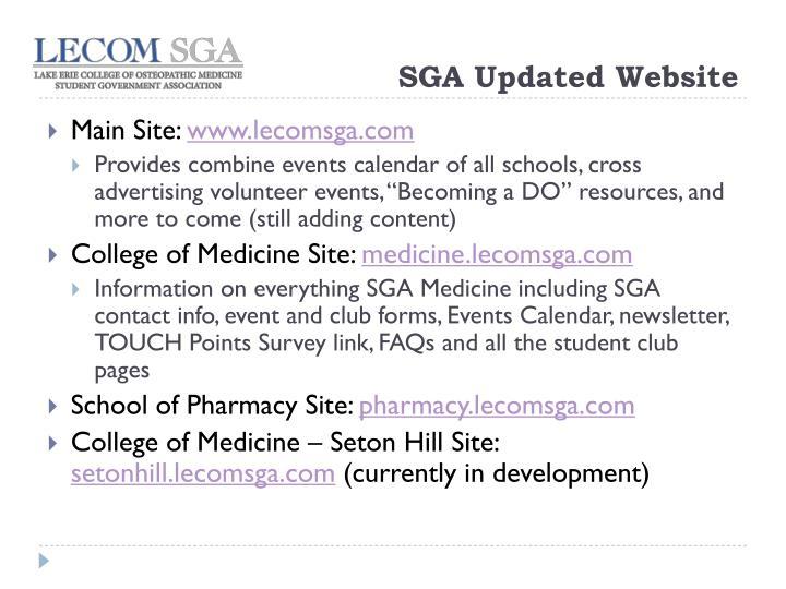 SGA Updated Website