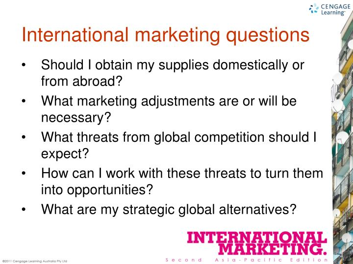 International marketing questions