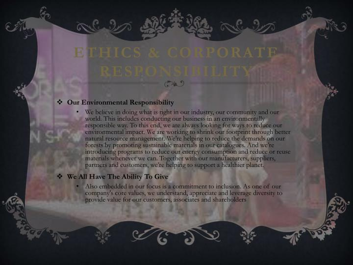 Ethics & Corporate Responsibility