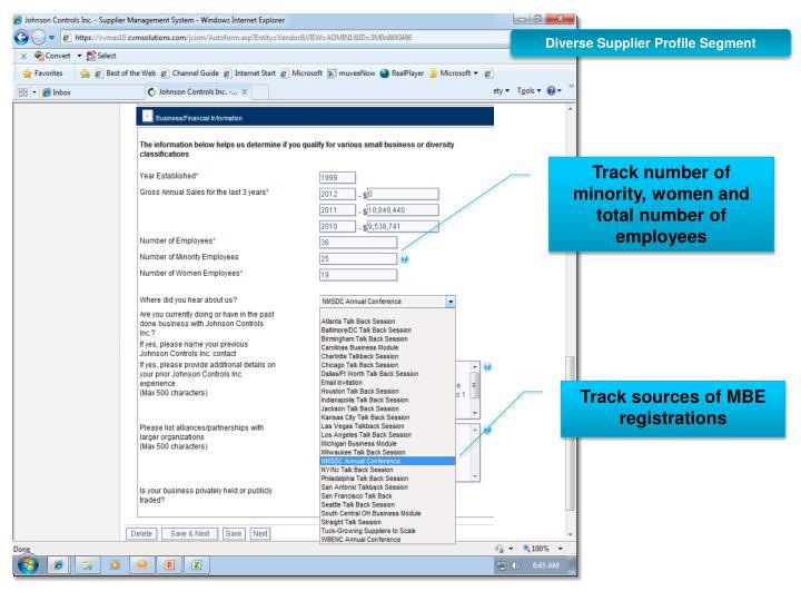 Diverse Supplier Profile Segment