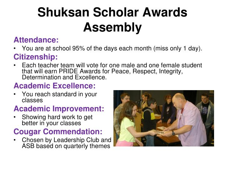 Shuksan Scholar Awards Assembly