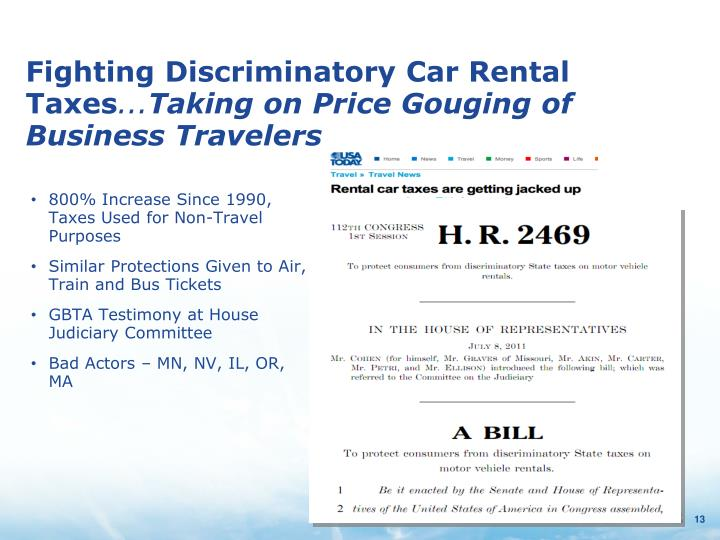 Fighting Discriminatory Car Rental Taxes