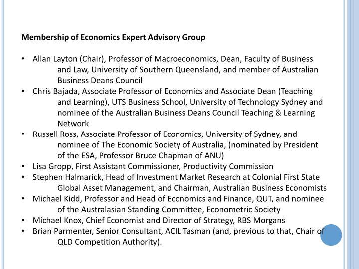 Membership of Economics Expert Advisory Group