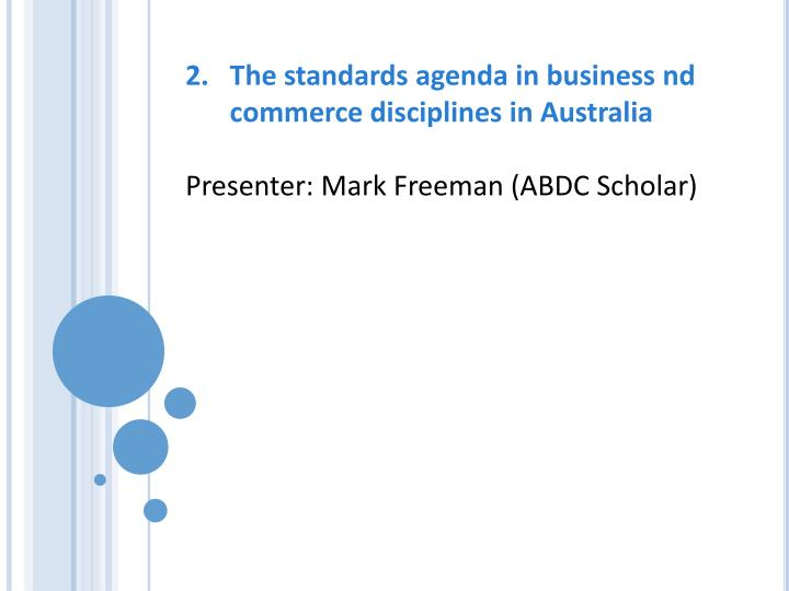 The standards agenda in business