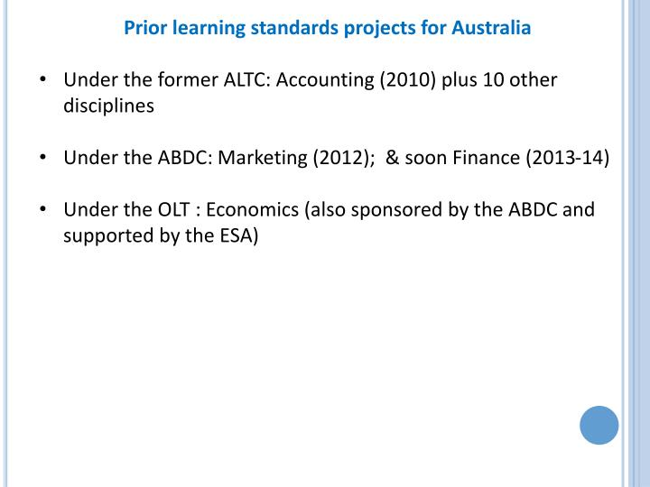 Prior learning standards projects for Australia