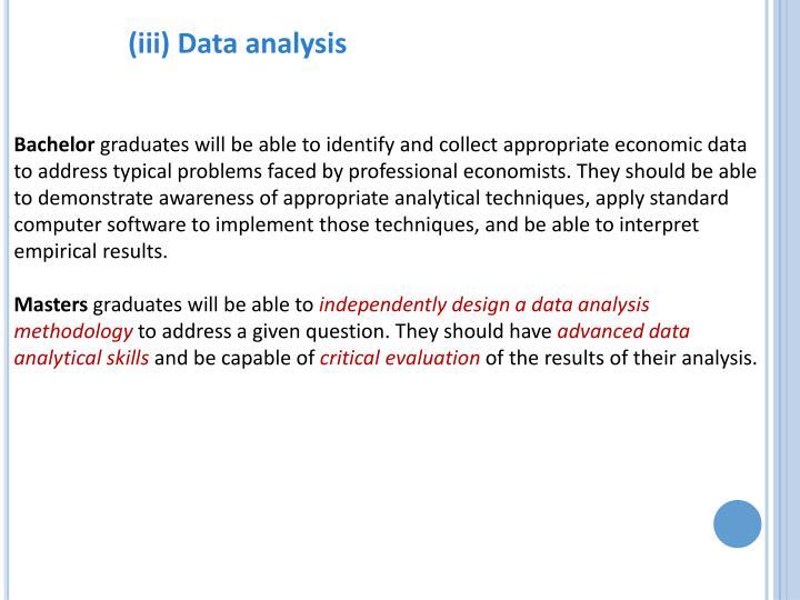 (iii) Data analysis