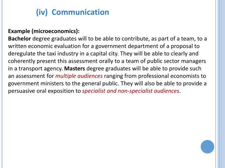 (iv)  Communication