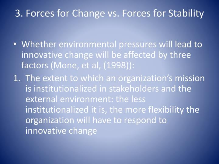 forces for stability and change Information about stability in the audioenglishorg dictionary, synonyms and antonyms  3 the quality of being enduring and free from change or variation.