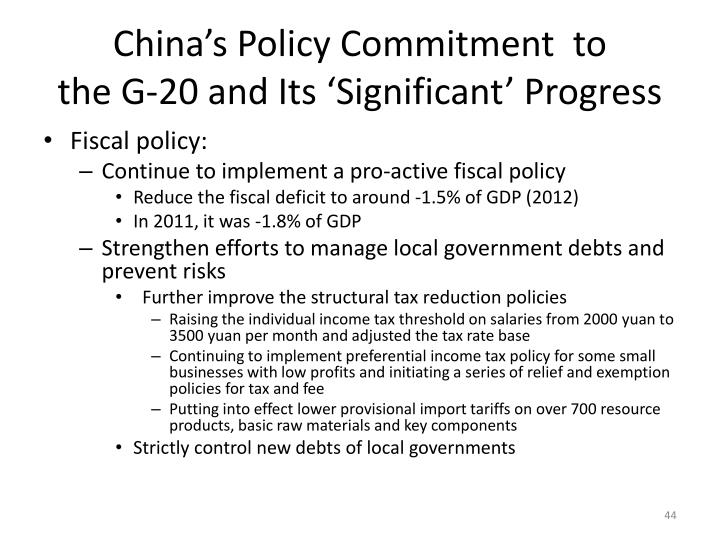 China's Policy Commitment  to