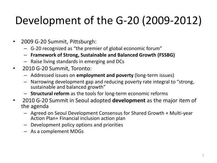 Development of the G-20 (2009-2012)