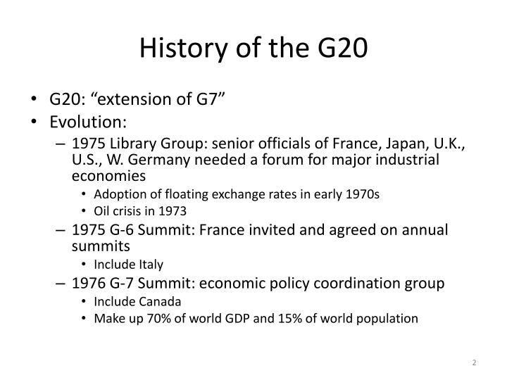 History of the g20