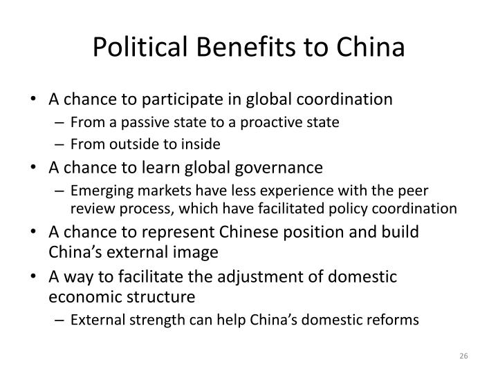 Political Benefits to China