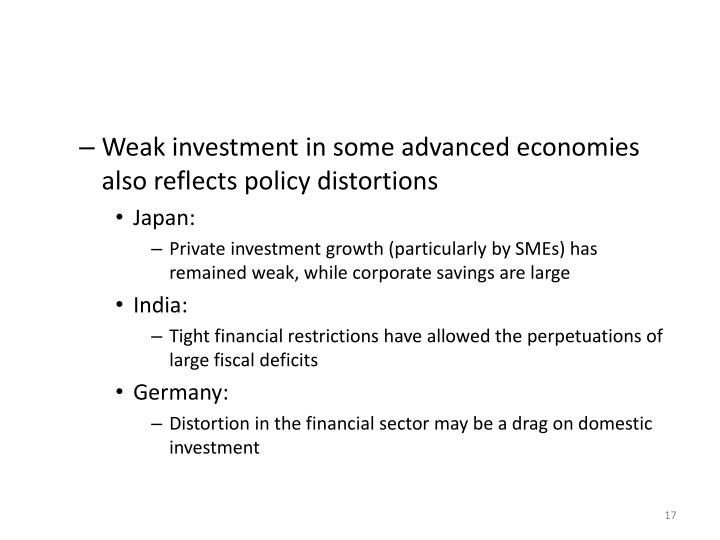 Weak investment in some advanced economies also reflects policy distortions