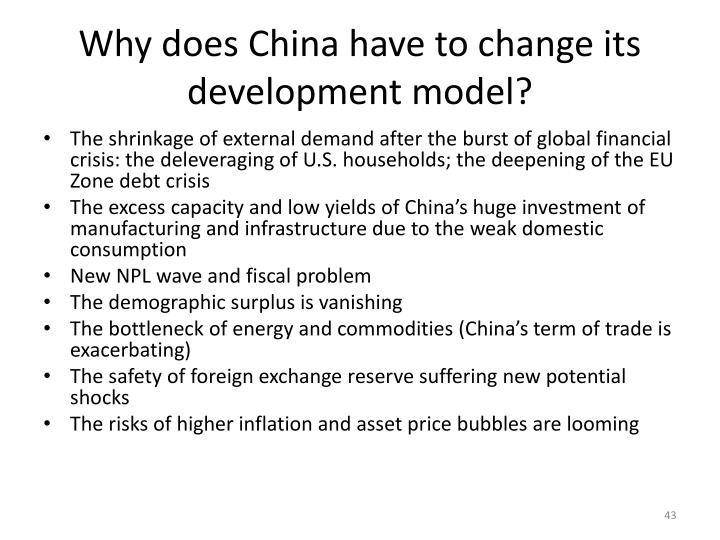 Why does China have to change its development model?