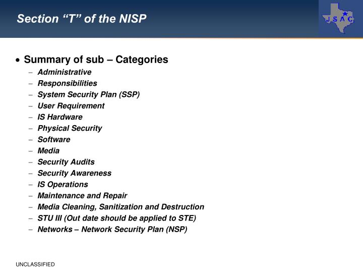 "Section ""T"" of the NISP"