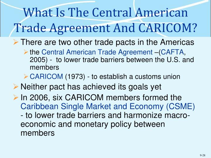 What Is The Central American Trade Agreement And CARICOM?
